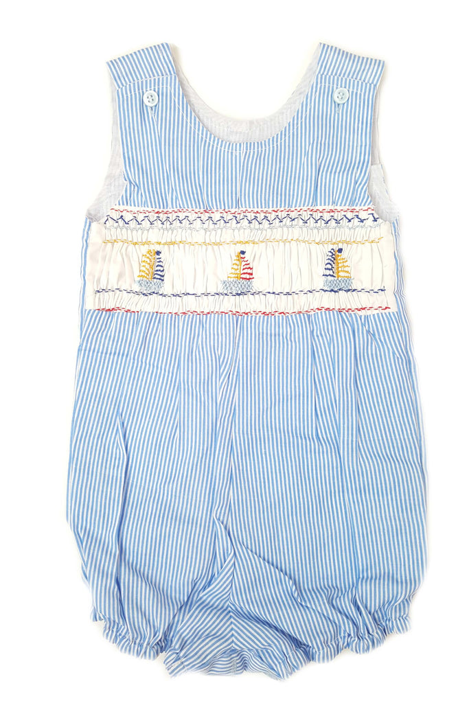 Blue seersucker nautical striped romper with hand-smocked bodice featuring sailboats for baby boys