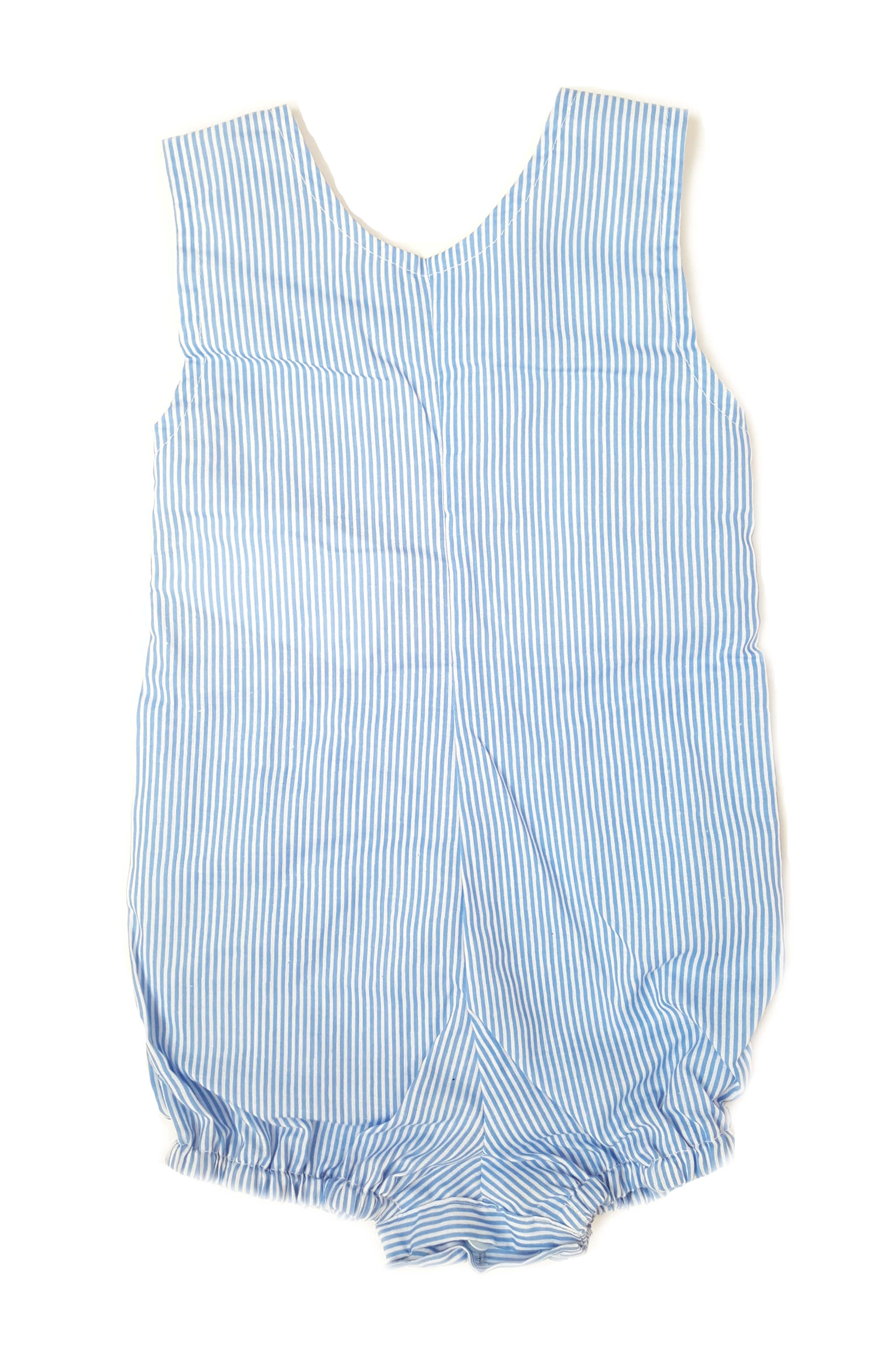 Back of blue seersucker nautical striped romper for baby boys
