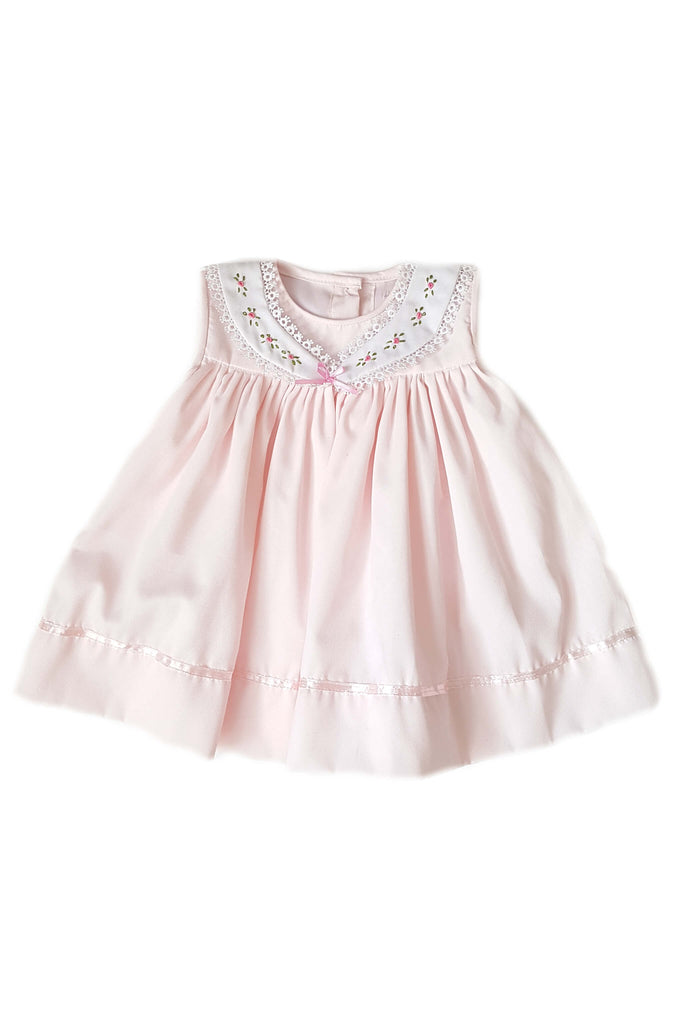 Traditional and classic little blush pink dress pink satin ribbon trim and hand-embroidered collar for baby girls