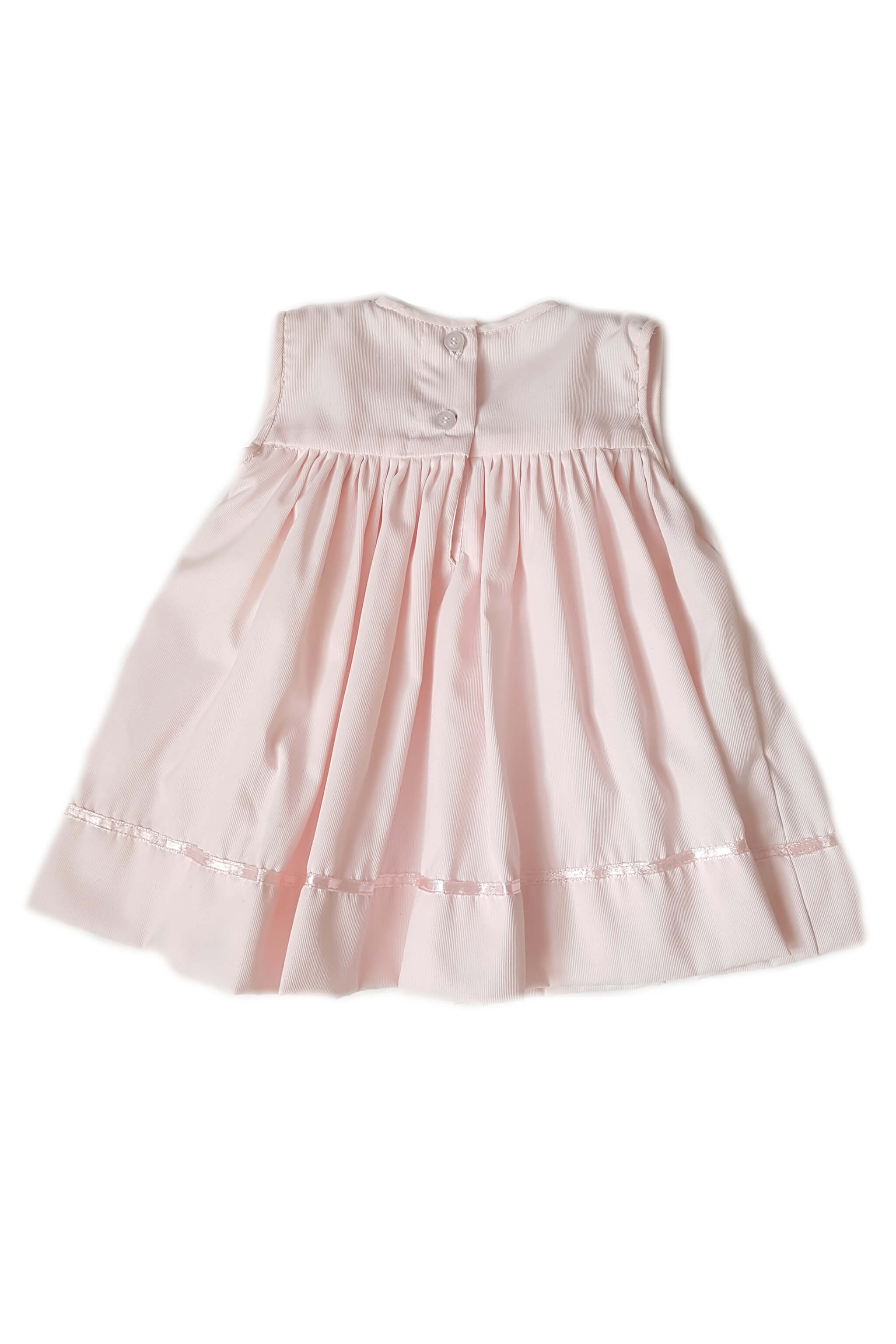 Back of traditional and classic little blush pink dress pink satin ribbon trim and hand-embroidered collar with button back for baby girls