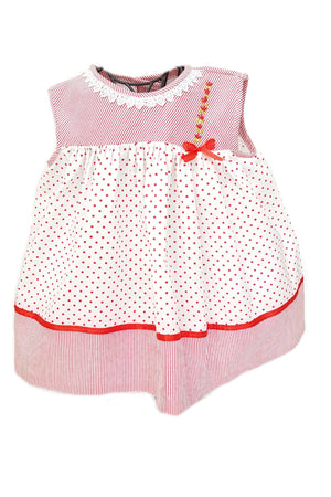 Red pin dot striped baby girl dress that is ethically made