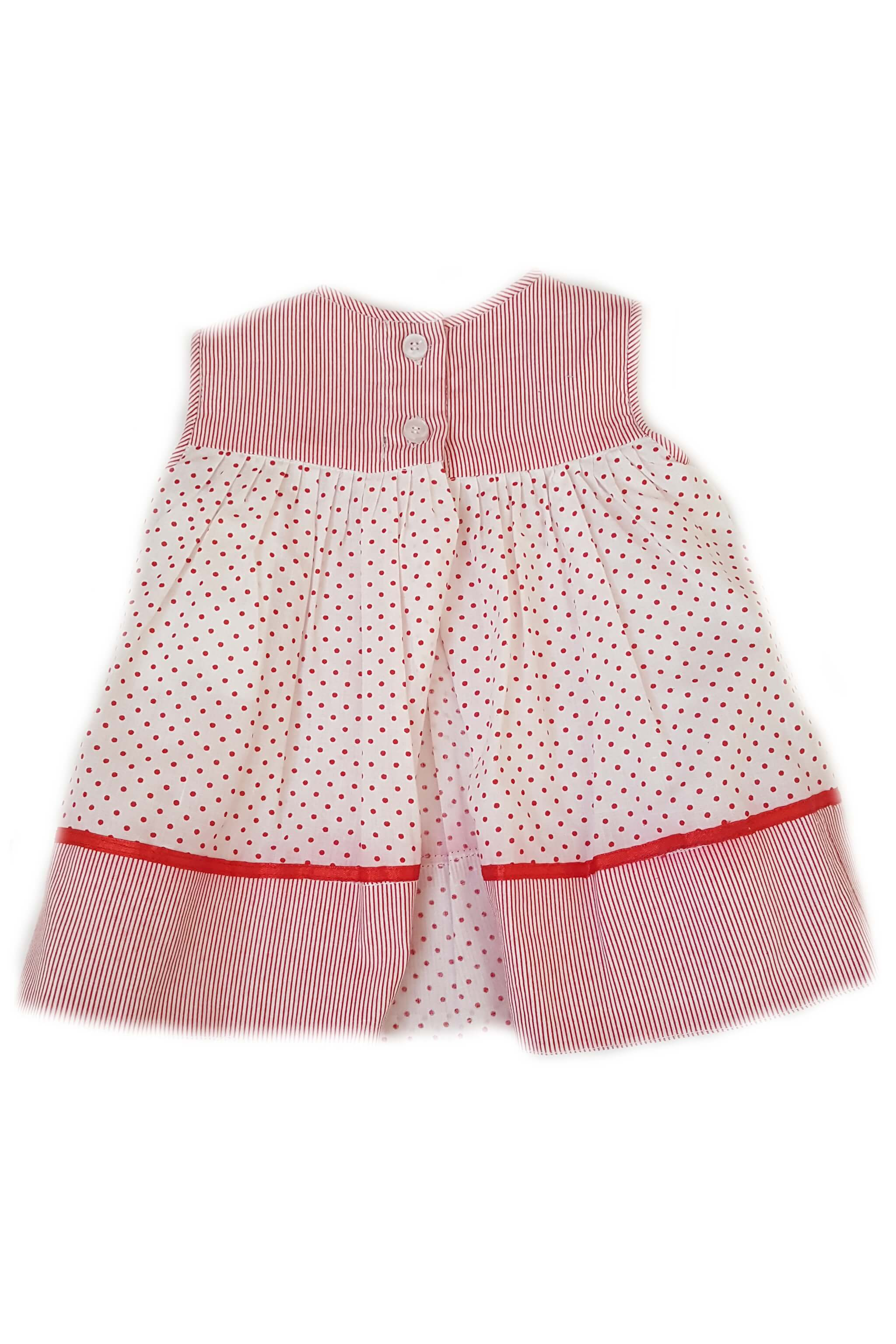 Back of red pin dot striped baby girl dress with back opening that is ethically made