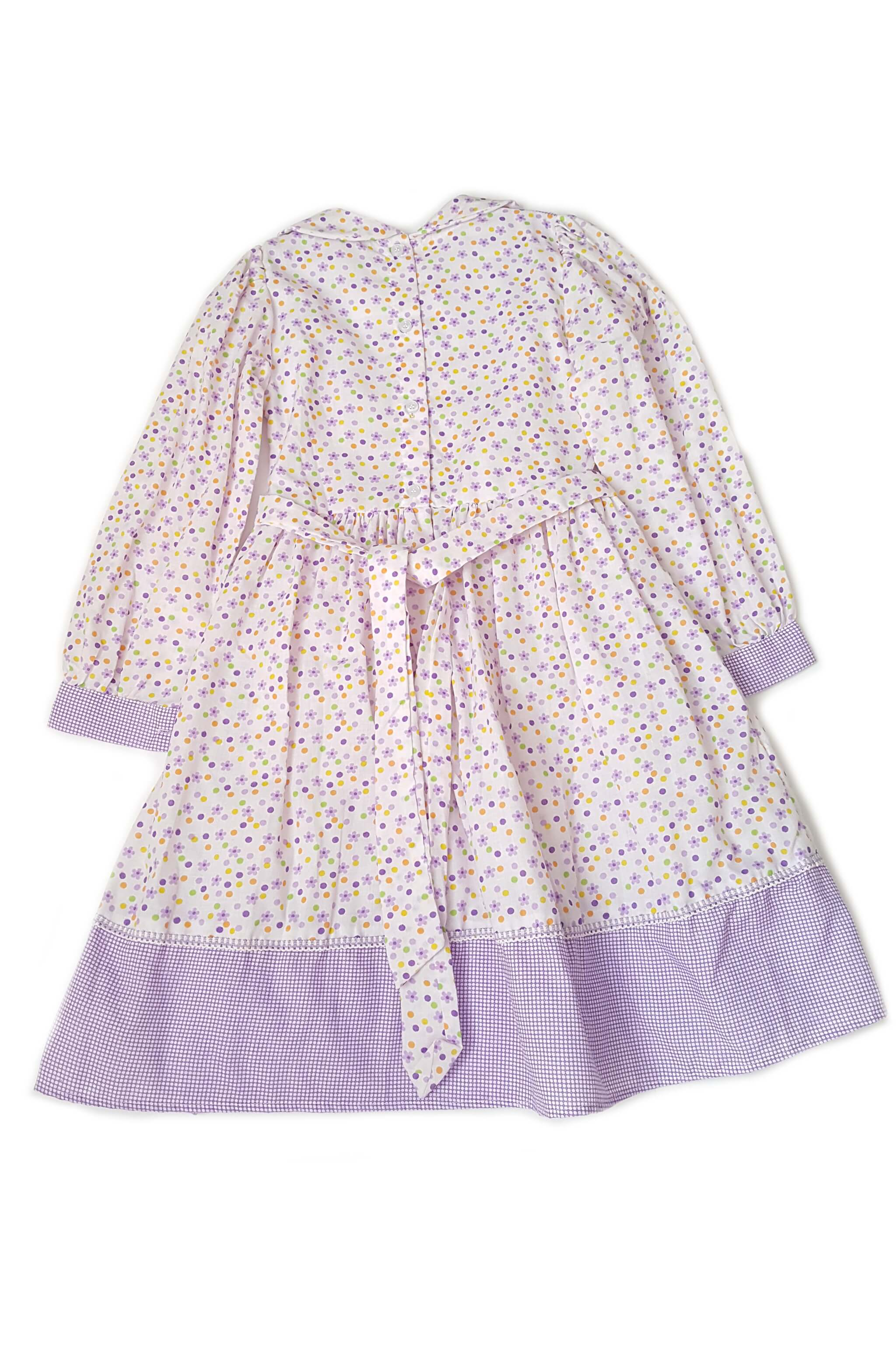 Back of pale purple floral print long sleeves peter pan collar Keira dress with contrasting hem with and button back with sash to tie at waist for girls