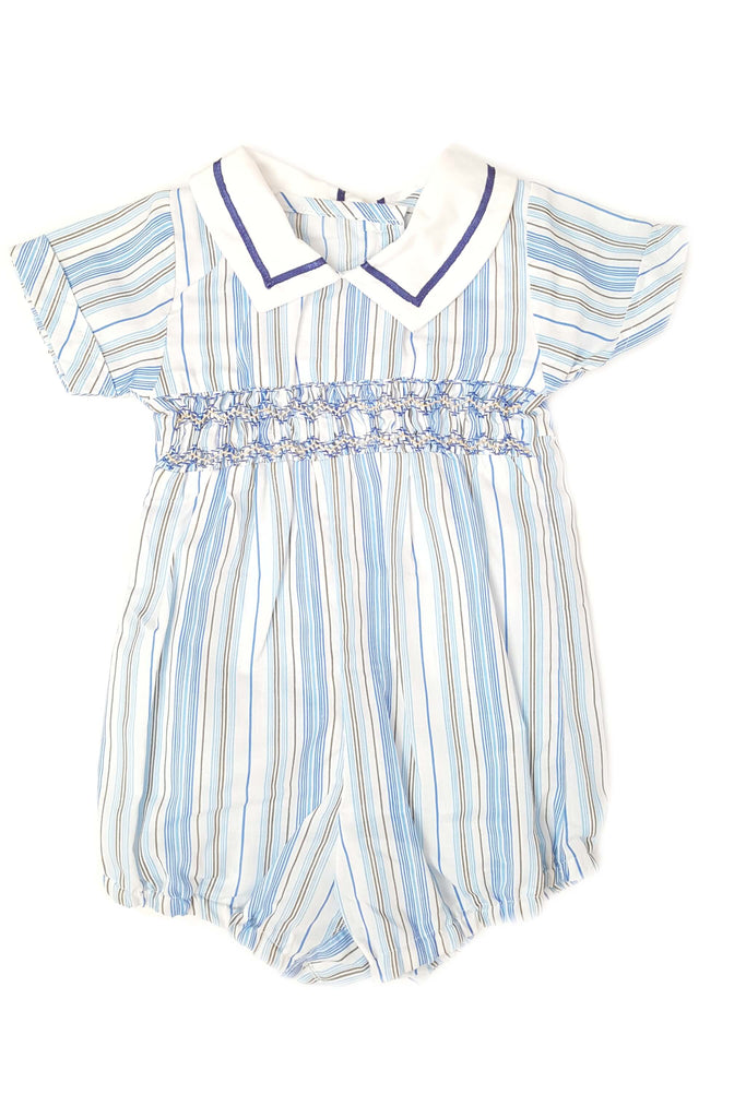 Classic nautical striped romper with a contrasting white nautical collar and hand-smocked bodice for baby boys