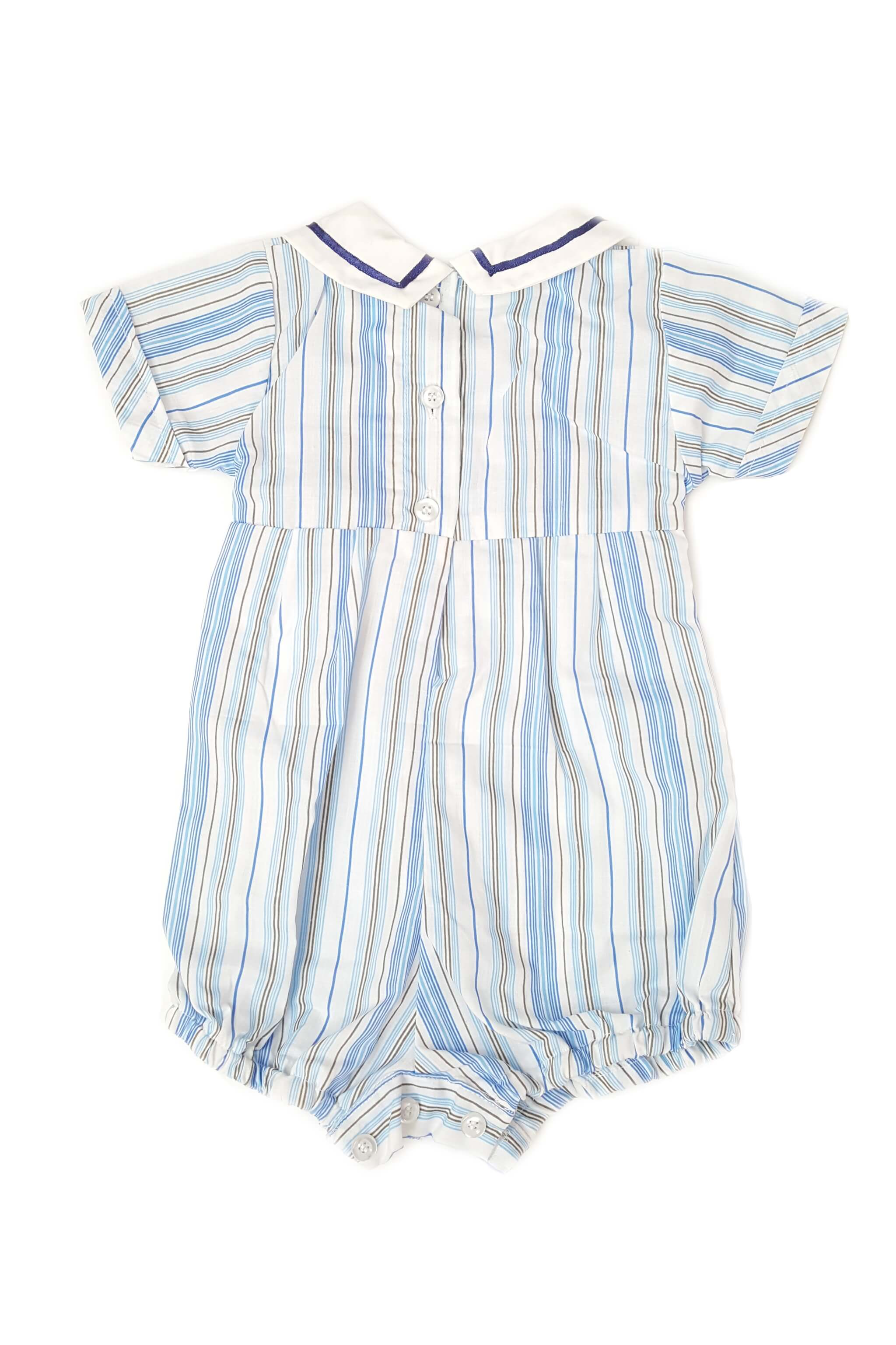 Back of timeless nautical striped romper with a contrasting white nautical collar and hand-smocked bodice for baby boys