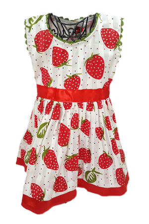 Strawberry print dress with red satin trim and sash to tie at waist for a baby girl
