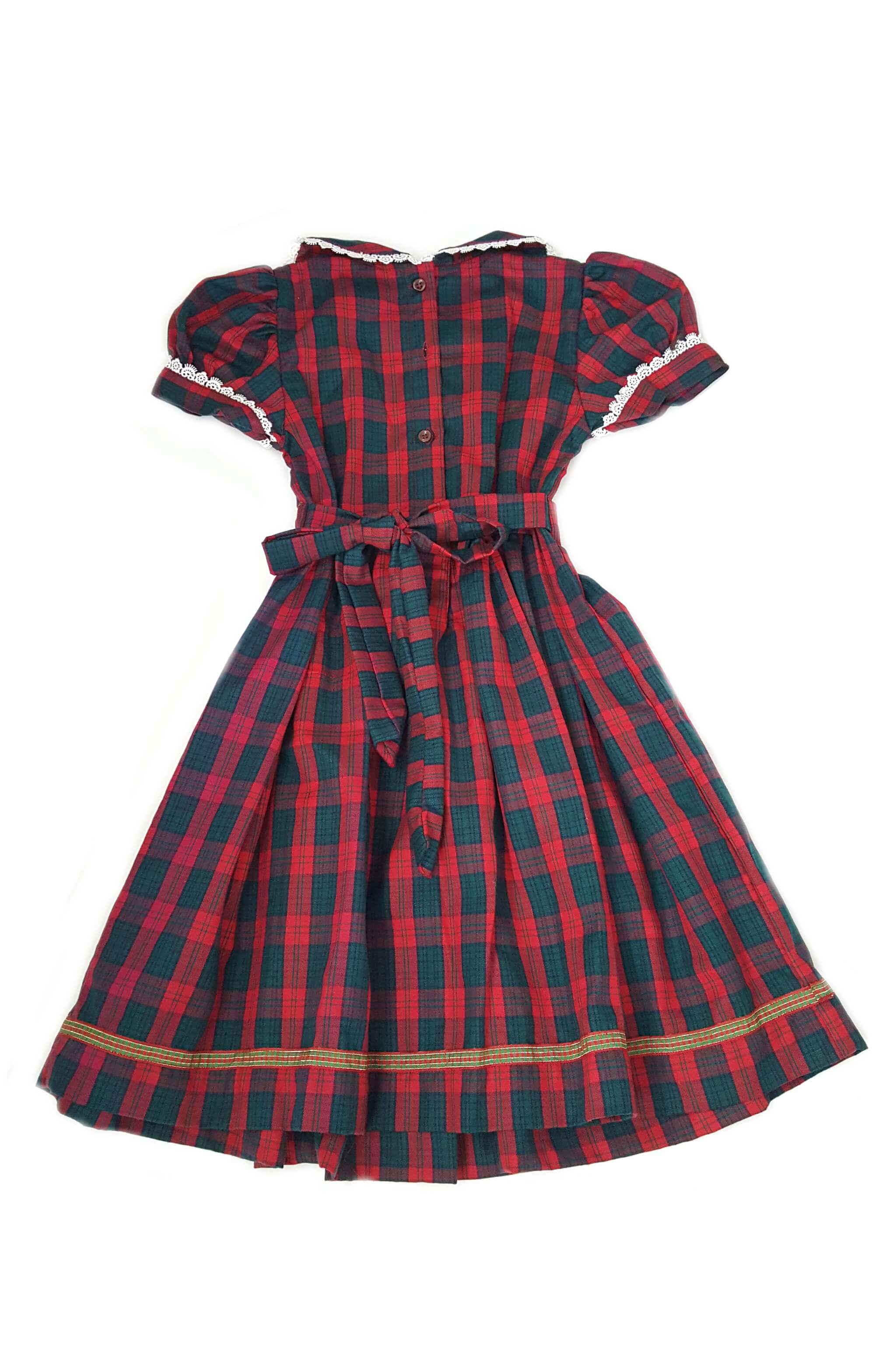 Tartan red and green smocked dress with button back opening and a tartan sash for 5-6 year, 9-10 and 11-12 year old girls
