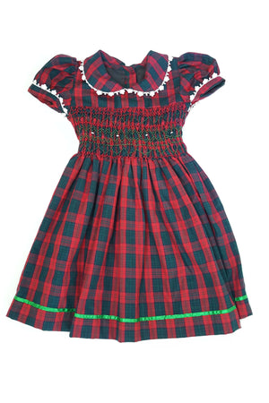 Red and green plaid smocked dress with intricate white lace details, green satin trim and short sleeves sleeves for 5-6 year old girls