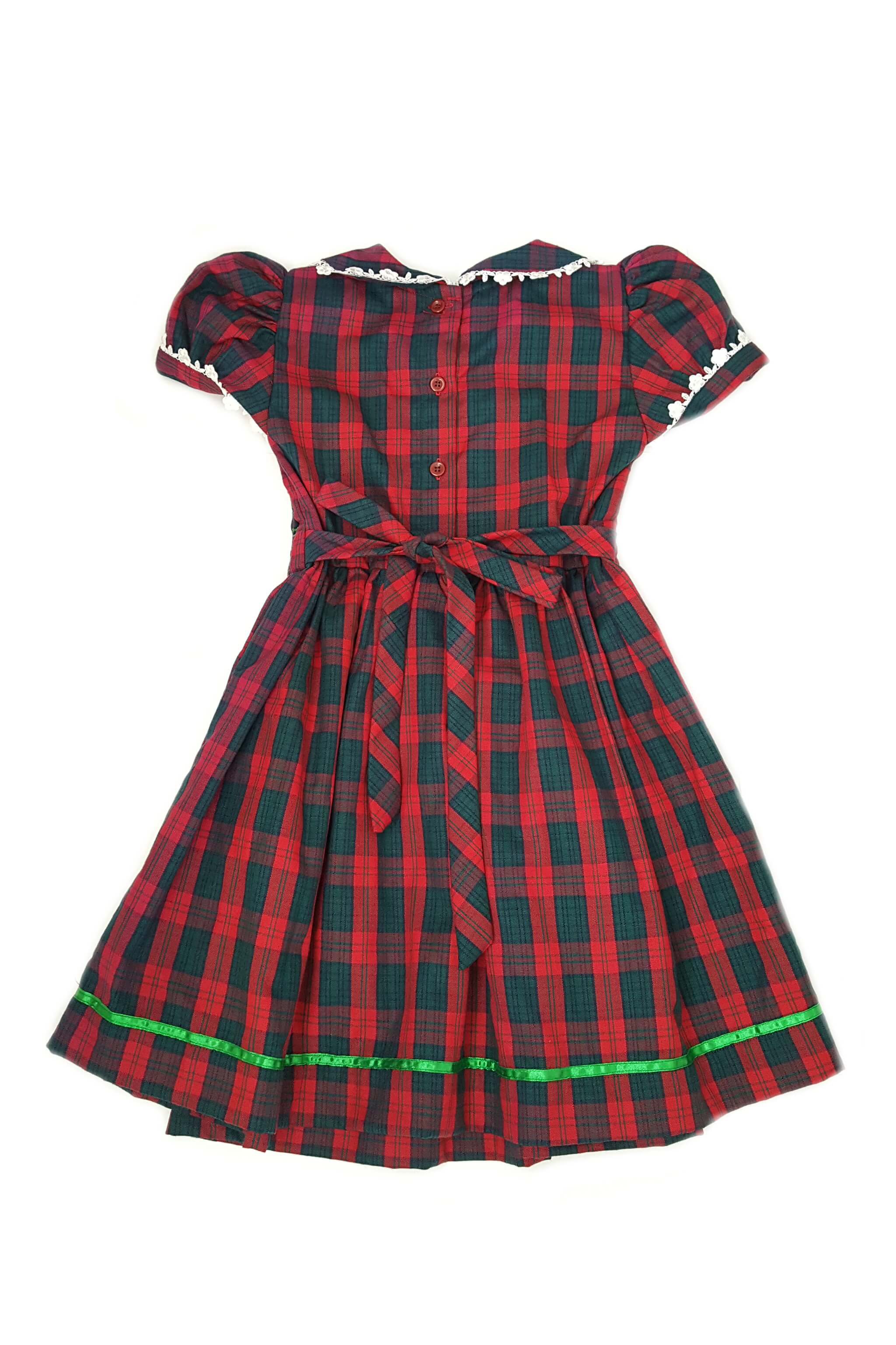 Red and green plaid smocked dress with intricate white lace details, green satin trim and long sleeves for 3-4 year old girls