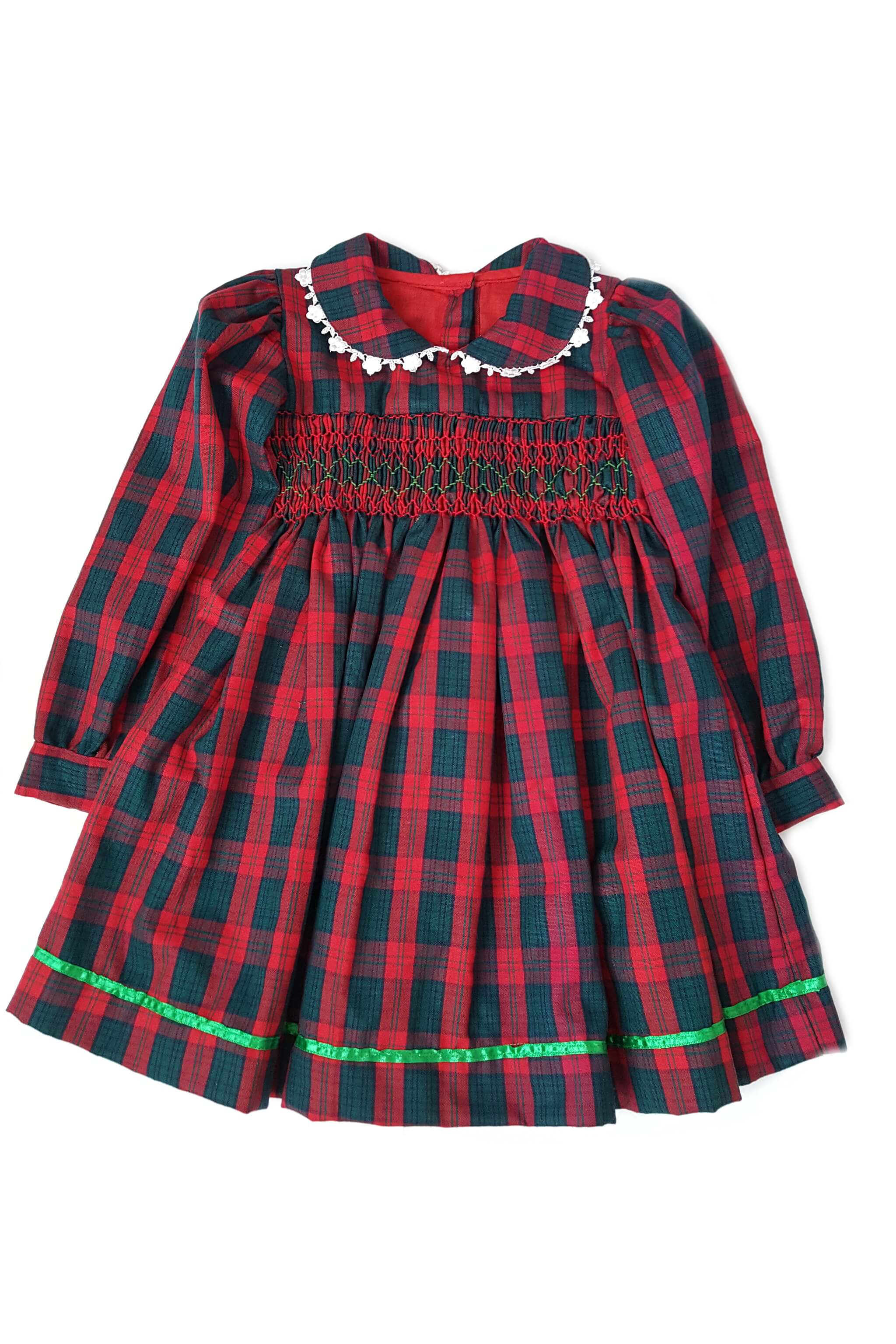 Red and green plaid smocked dress with intricate white lace details, green satin trim and long sleeves for 2-3 year old girls