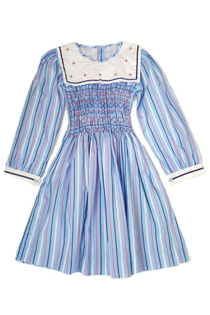 Sky blue, pink and white candy-stripe smocked dress with contrasting white square neck collar in classic navy-blue nautical trim and hand-embroidered flowers for girls