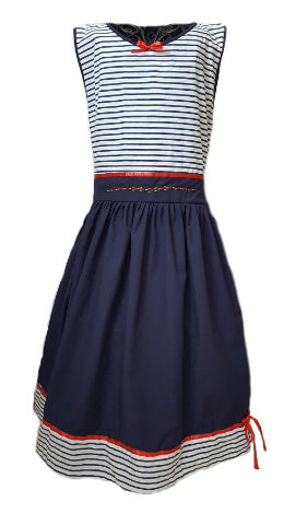 Nautical striped navy blue dress with red hand-embroidered flowers at the waist for older girls