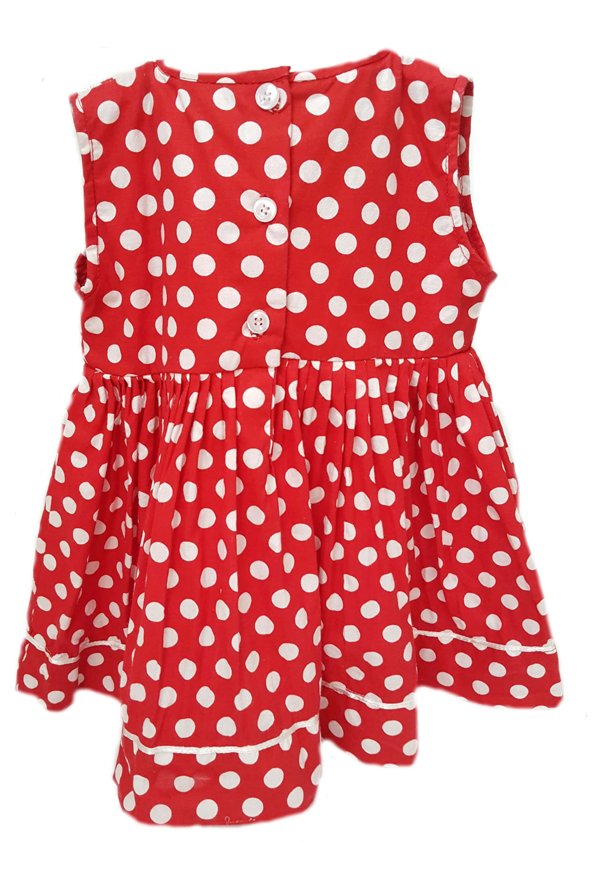 Back of red polka dot baby girl dress with button back