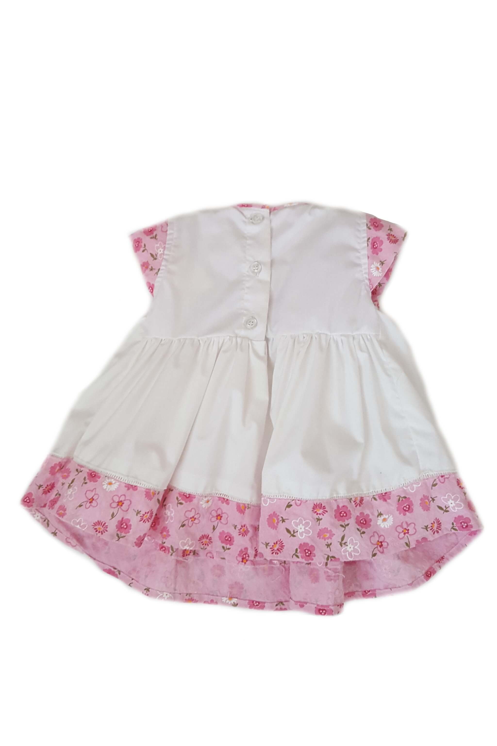 Back of white dress with hand-smocked chest and contrasting cap sleeves and hem with floral print and button back for baby girls
