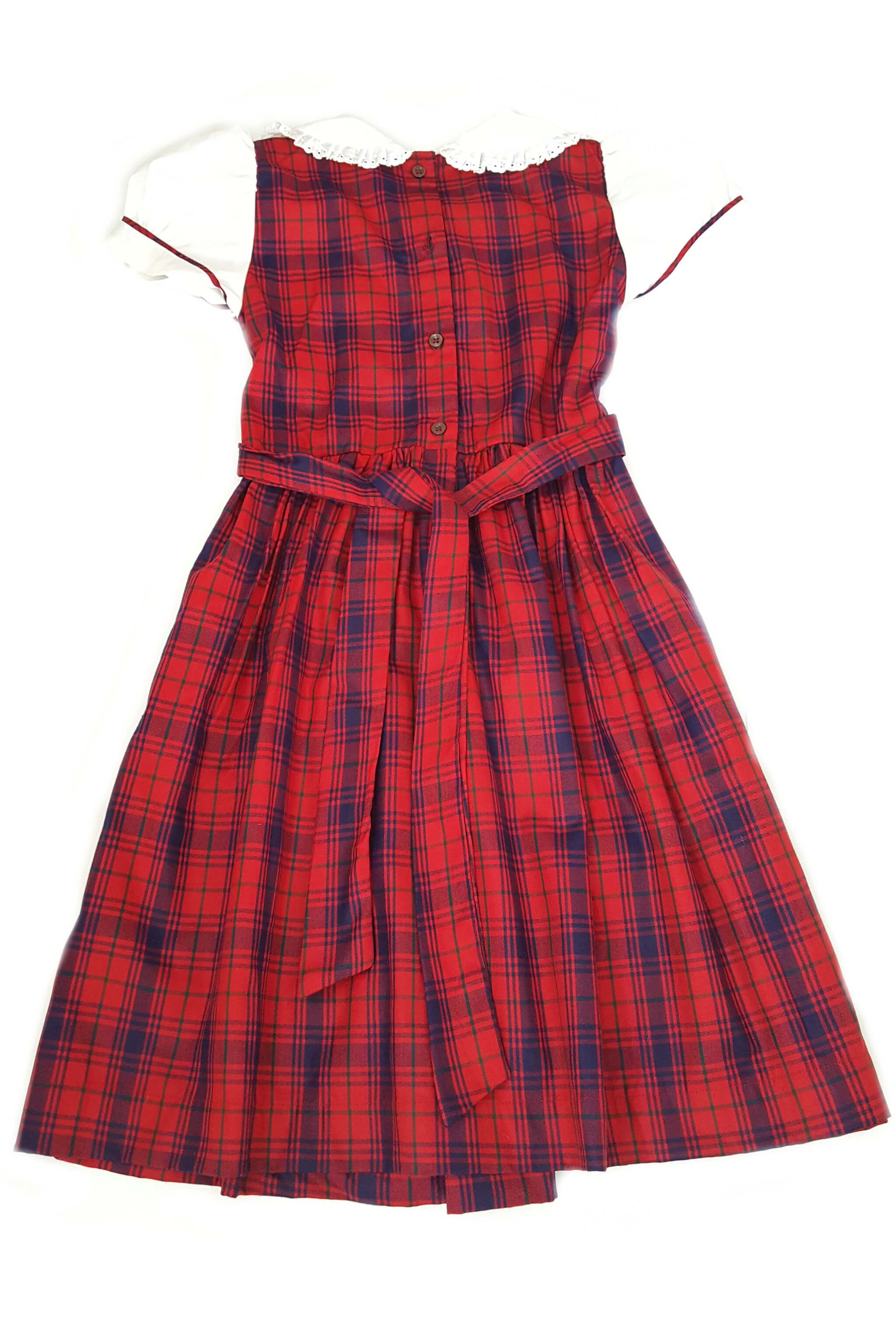 Traditional and classic red and navy plaid smocked dress with button back opening and matching tartan sash to tie at the waist for 7-8 year and 11-12 year old girls