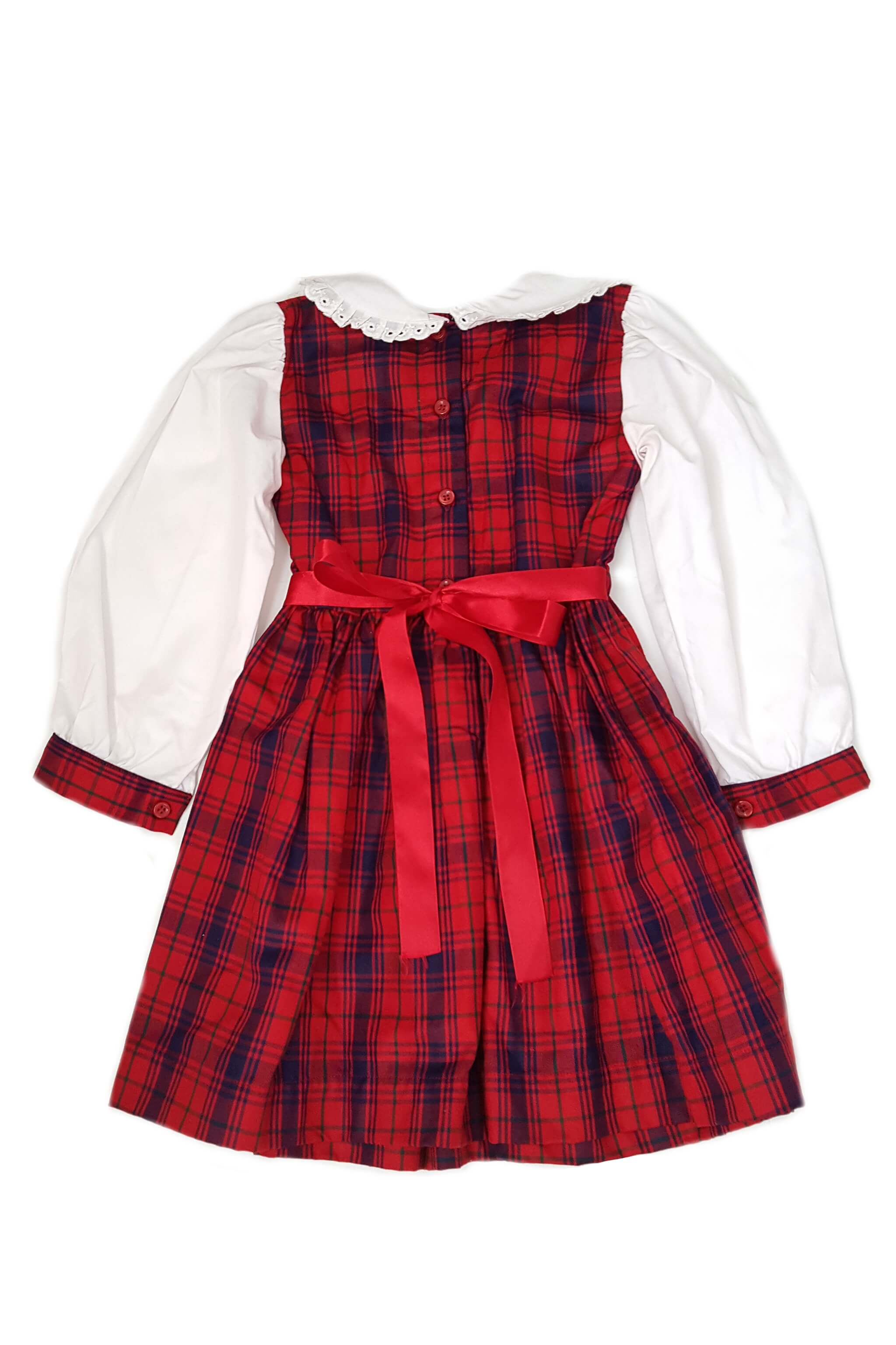 Traditional and classic red and navy plaid smocked dress with button back opening and red satin sash to tie at the waist for 2-3 year and 3-4 year old girls