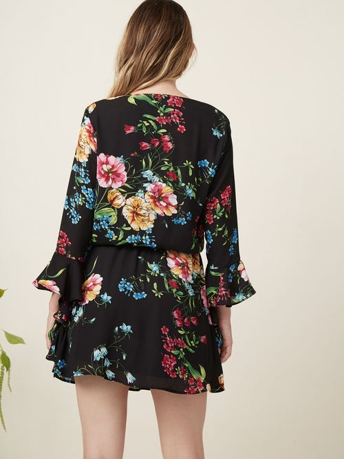 """mini dress Surplice  Long sleeve Ruffle sleeve  Wedding  Printed dress Floral print """