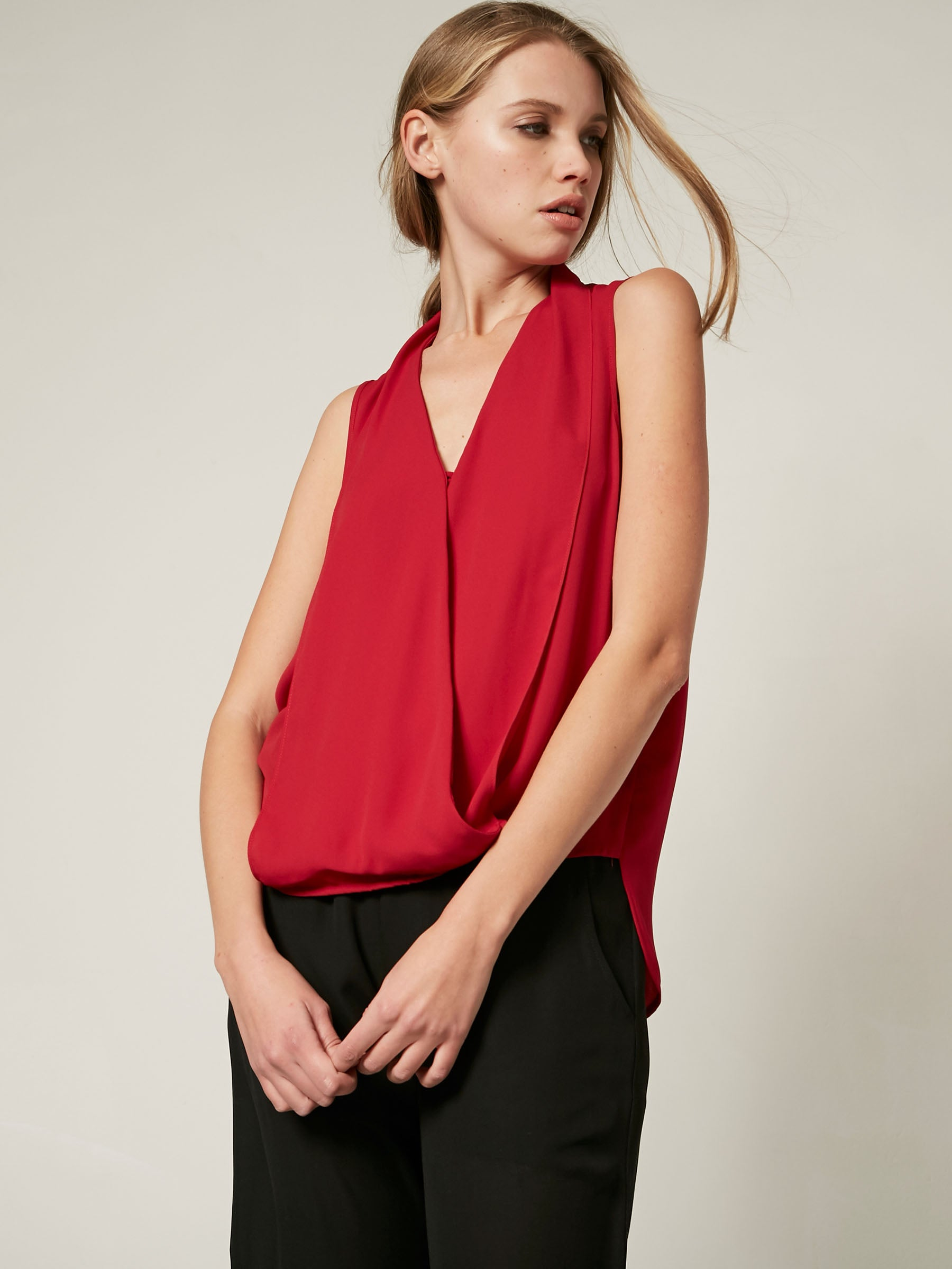 surplice tank, tank top, office wear, everyday top, woven top, ruby, red, v neck