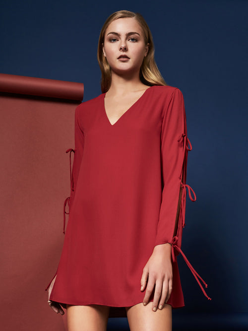 Jayson Tie Long Sleeve Midi Dress