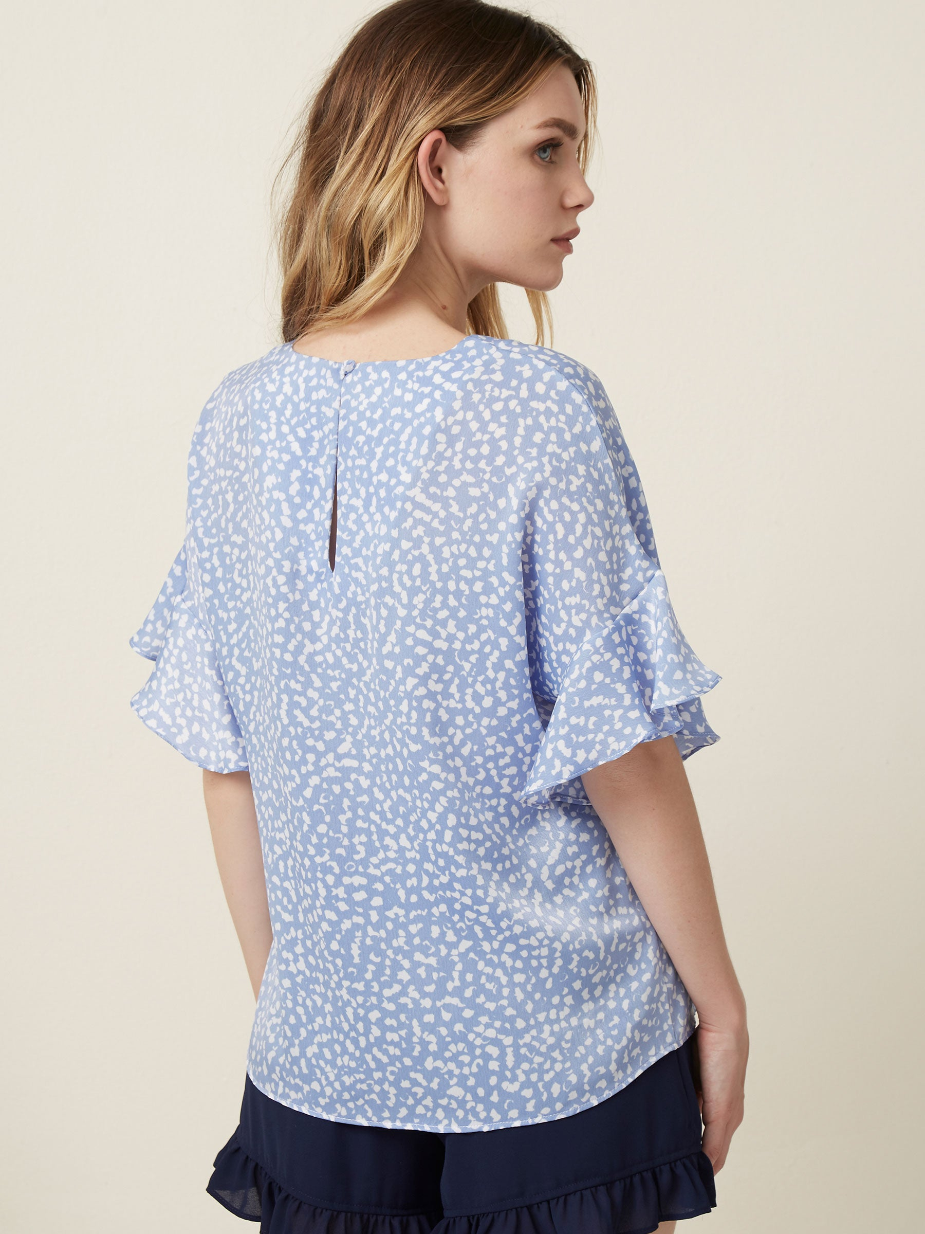 """Tops tee shirt  Ruffle sleeves  Printed tops Abstract prints  Blue tops """