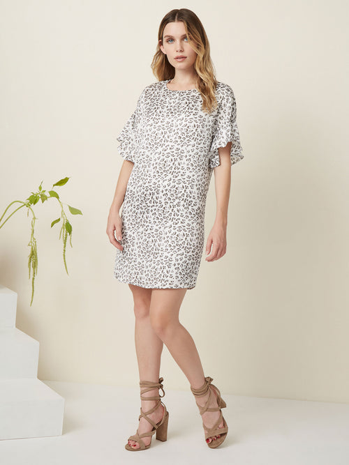 """Mini dress Tee shirt dress Ruffle sleeves  Printed dress animal print """