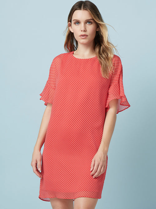 """Mini dress Tee shirt dress Ruffle sleeves  Printed dress Polka dots  """