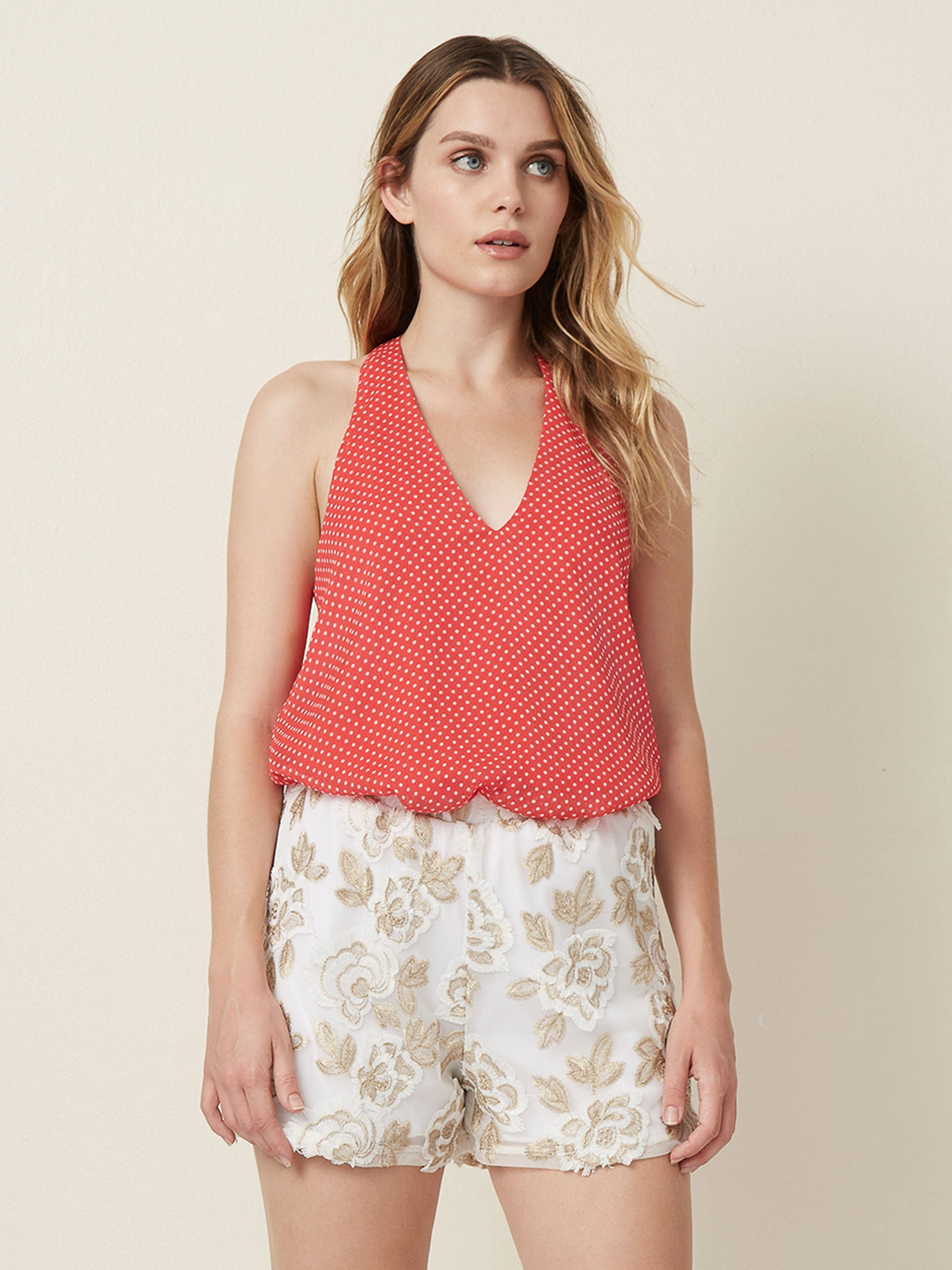 Tank top Racerback  Lined tank  printed tops  V neck tank  Layering tops Polka dots