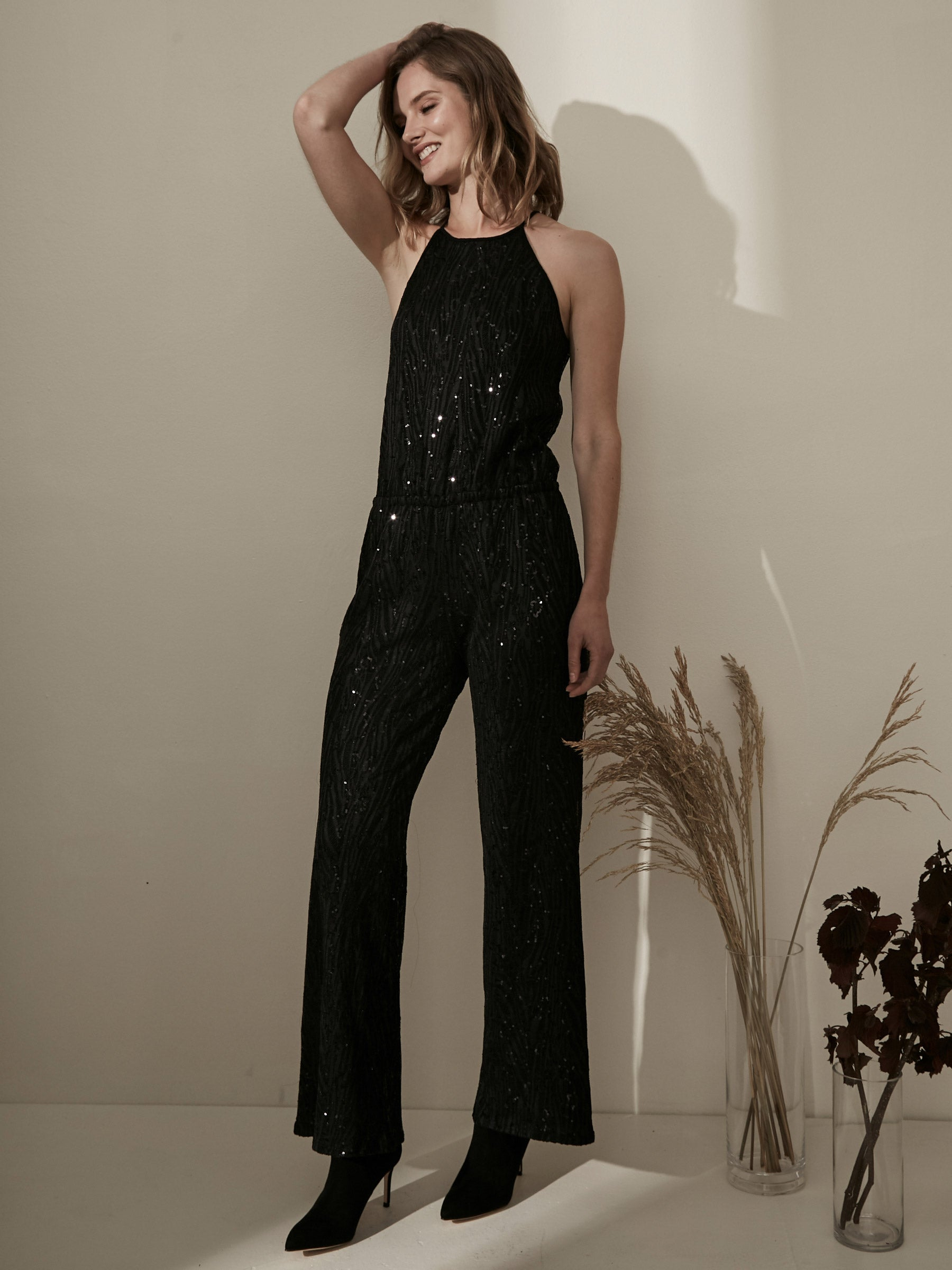 Josie Sequinced Halter Jumpsuit