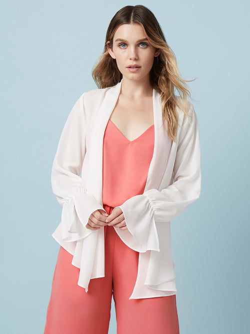 """Layering piece  Cardigan  Ruffle sleeves  ivory tops  """