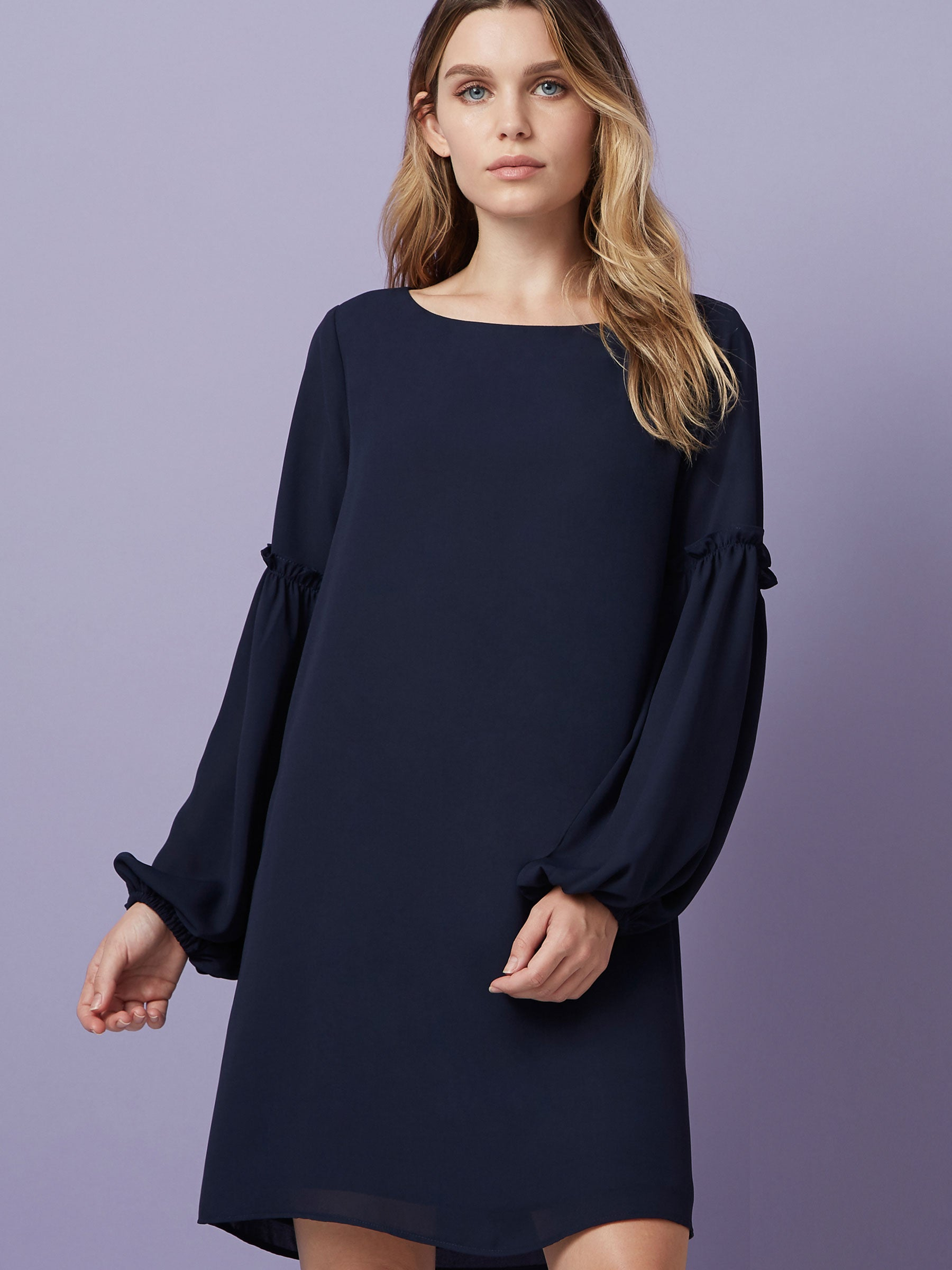 """Mini dress Long sleeve  Ruffle sleeve  Navy dress """
