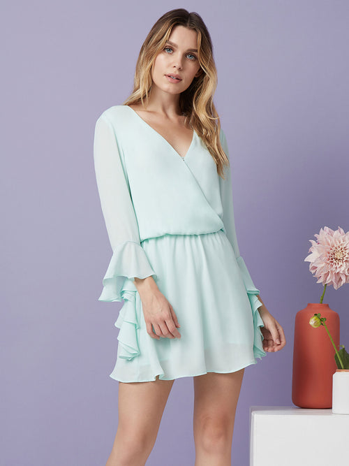 """mini dress Surplice  Long sleeve Ruffle sleeve  Wedding  green dress mint"""
