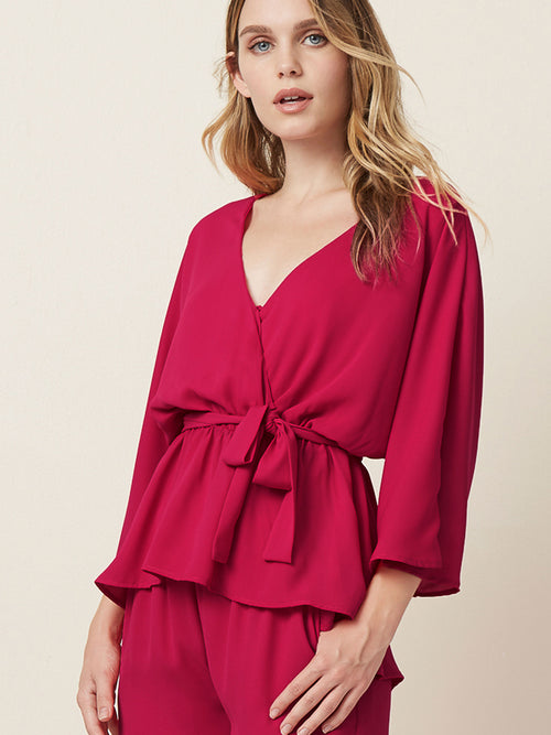 """wrap tops Oversized fit  Belted top  Office wear  Pink tops """