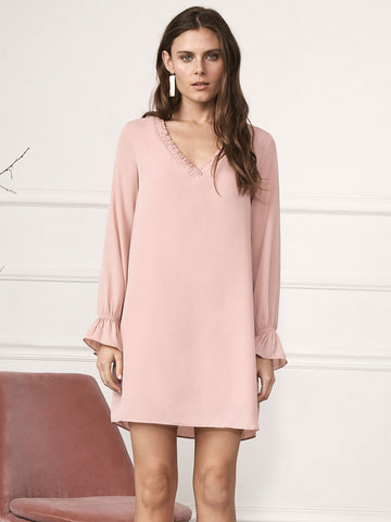Talia V Neck Long Sleeve Mini Dress