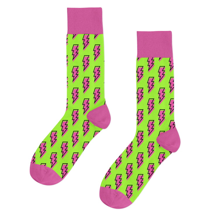Qlassic Socks - Pink/Green Lightning