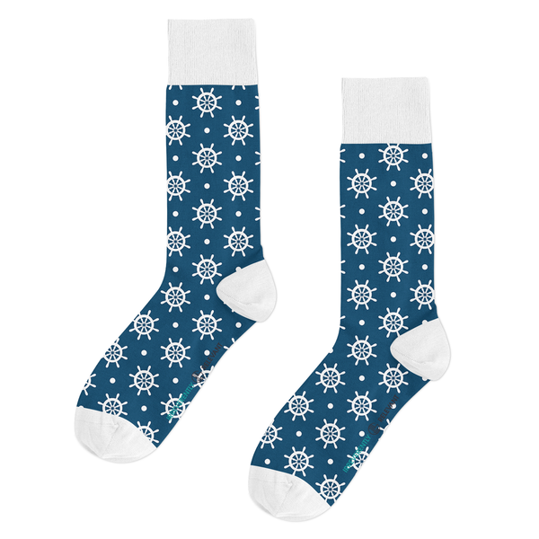 Qlassic Socks - Blue Wheel Nautical