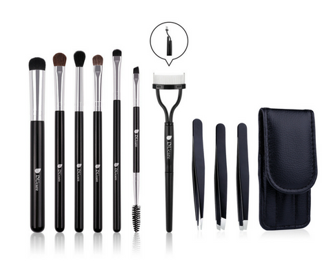 DUcare Complete Eyeshadow Makeup Brushes Set with Foldable Eyelash Comb Eyebrow and Tweezers