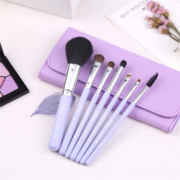 ZOREYA Premium Synthetic and Pony Hair Make Up Brush - 7 Piece Set With Leather Bag