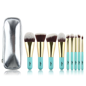 Anmor Synthetic Hair Premium Makeup Brush set with Bag - 9 Piece Set