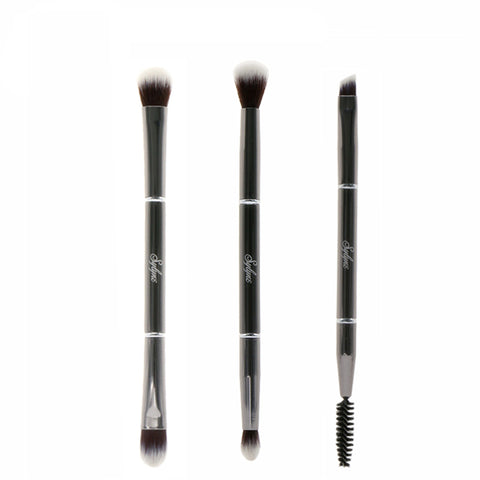 Professional 3 Piece Metal Double Ended Eye Makeup Brush Set