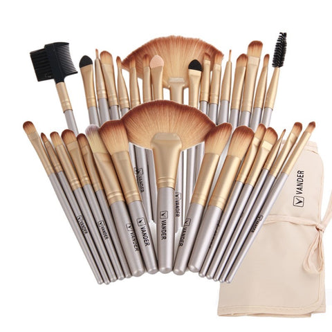 Vander Professional Soft 32 Piece Makeup Brushes Set With Bag - Champagne