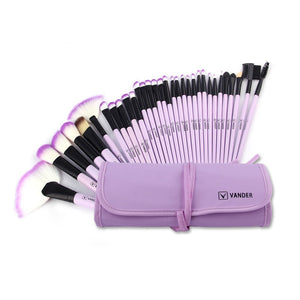 Vander Professional Soft 32 Piece Makeup Brushes Set With Bag - Lilac