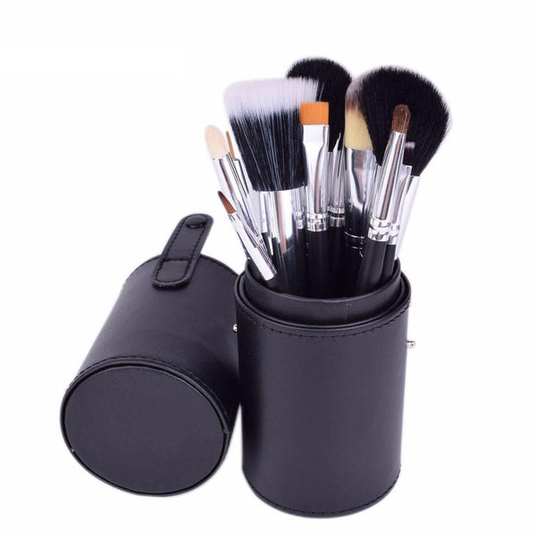 12 Pcs Professional Makeup Brush Kit With Leather Cup/Tube Holder Tube