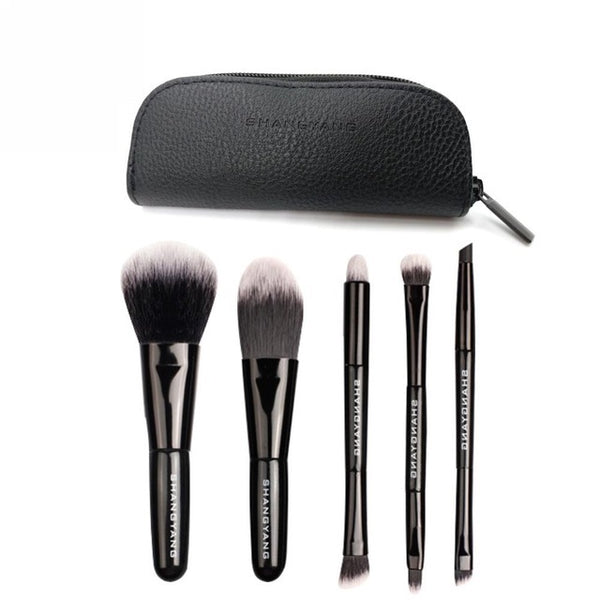 Synthetic Natural Hair Studio Makeup Brushes Set With Pouch - 5 Piece Set
