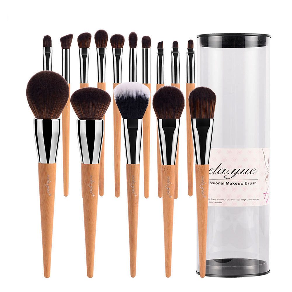 Professional Makeup Brushes 15 Piece Set With Case and Cruelty-free Technology