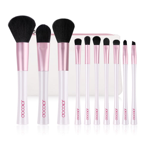 Docolor Professional White and Pink Synthetic Hair Makeup Brush Bag - 10 Piece set