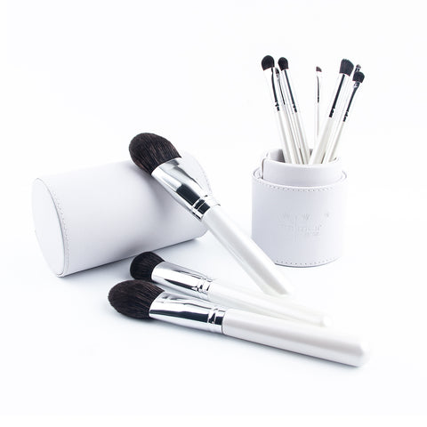 Anmor Premium Quality Professional Makeup Brushes Set with Brush Holder White - 10 Piece Set
