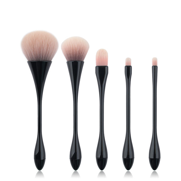Anmor Premium Quality Synthetic Hair Thin Waist Makeup Brushes Set - 5 Piece Set Black