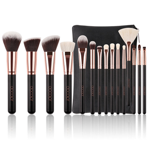 Docolor High Quality Soft Synthetic Hair and Nature Bristles Professional Makeup Brush Tool Kit 15 Piece Set
