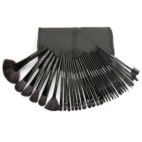 Vander Professional Soft 32 Piece Makeup Brushes Set With Bag - Black
