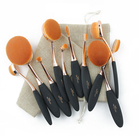 Professional Extremely Soft Oval Makeup Brushes Kit with Bag Rose Gold - 10 Piece Set